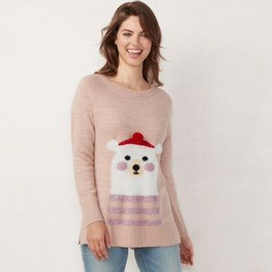 NWT LC Lauren Conrad petite holiday tunic sweater